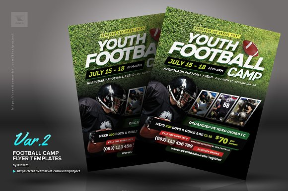 football camp flyer templates flyer templates creative market