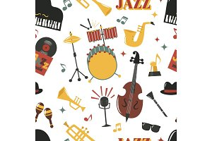 Fashion jazz band music party musical instrument design vector seamless pattern