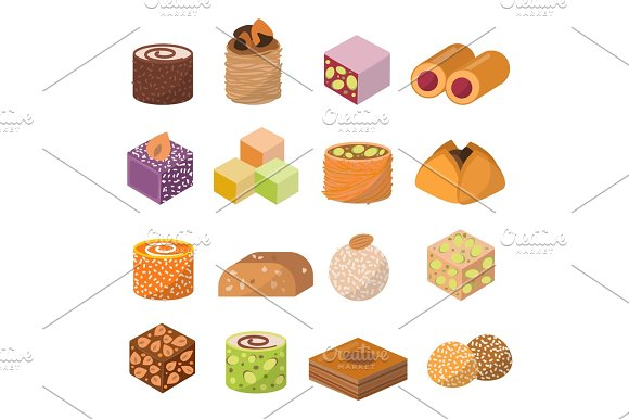 Sweets Dessert From East Isolated Food Vector