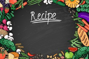 Food Recipe on Black Chalkboard