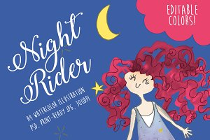 Night Rider Watercolor Illustration