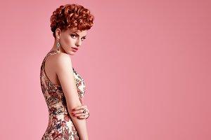 Fashion Redhead Model. Stylish Mohawk hairstyle
