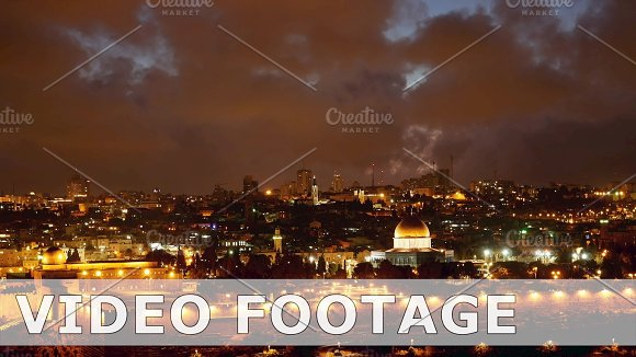 Bright Jerusalem Old City Lights Over Al Aqsa