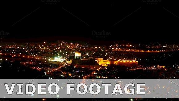 Bright Jerusalem city lights at night