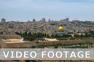 Jerusalem panoramic aerial view time lapse