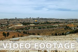 Jerusalem panoramic olive mountain view time lapse
