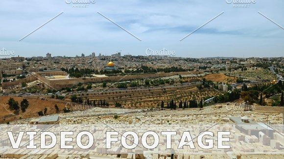 Jerusalem panoramic olive mountain view time lapse