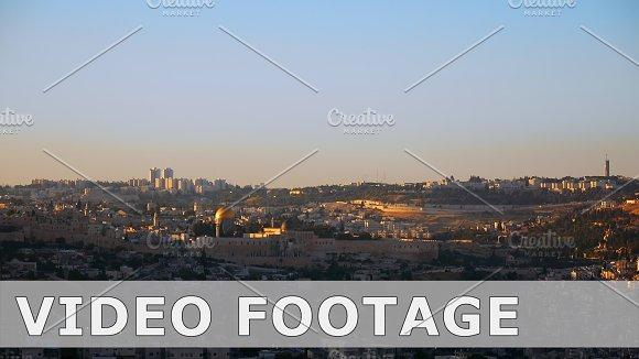 Jerusalem panoramic sunset view time lapse