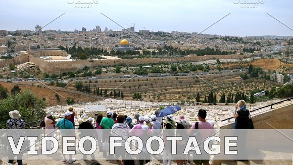 Tourists look at the Jerusalem Old City timelapse