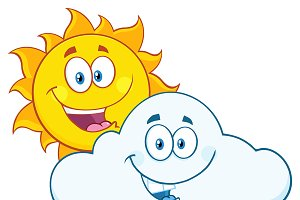 Summer Sun And Smiling Cloud