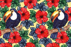 Toucan hibiscus seamless pattern