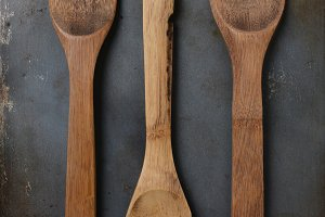 Wood Utensils on Baking Sheet