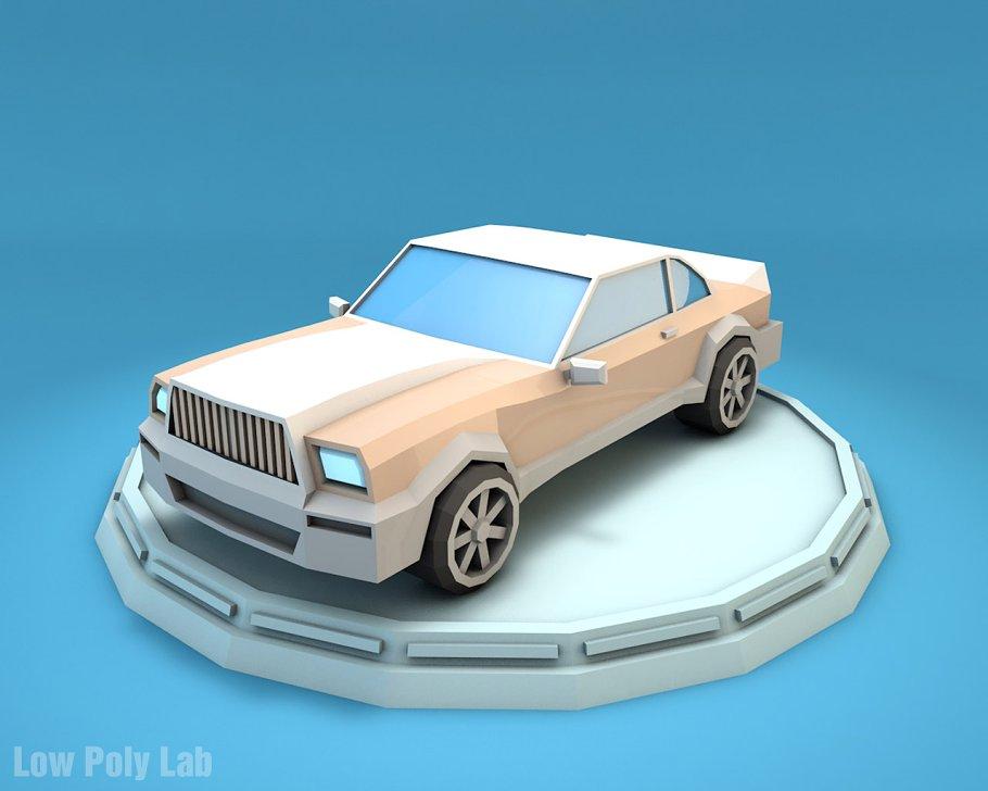 Cartoon Luxury Car Low Poly 3d Model Vehicles Creative Market