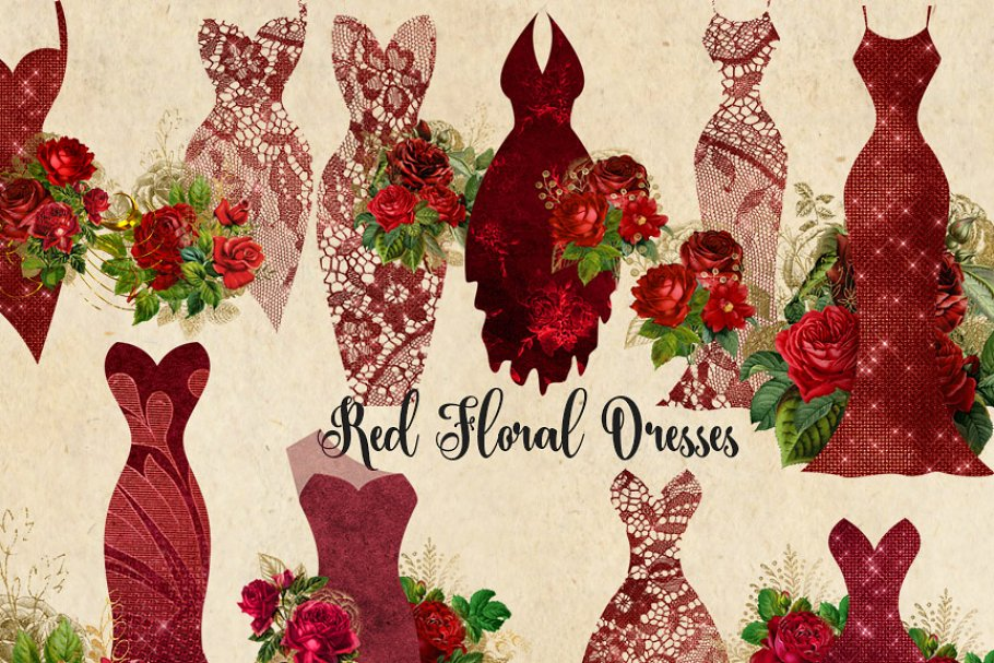 Red Floral Dress Clipart