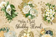 White and Gold Shabby Florals