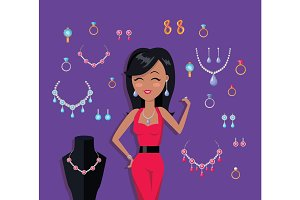 Beautiful Woman with Jewelry Collection