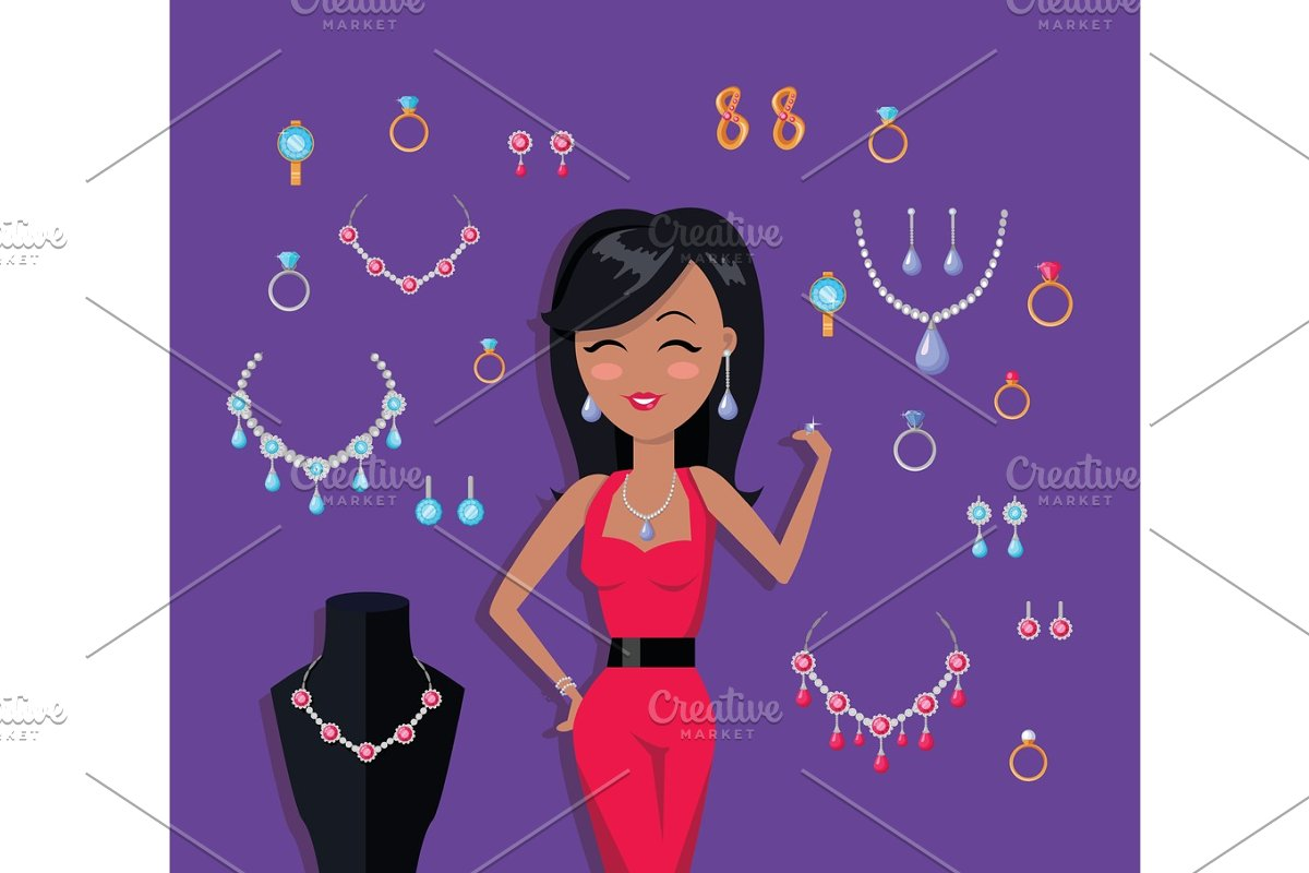 Beautiful Woman with Jewelry Collection in Illustrations