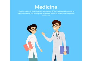 Medicine concept with health care experts characters.