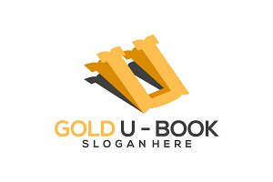 Gold U - Book Logo designs Template