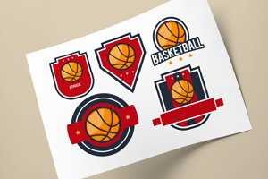 Set Of Basketball Logo badge designs