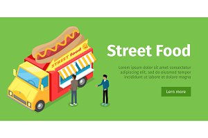 Fast Food Truck Isometric Projection Style. People