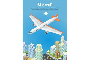 Aircraft Flying Over the City Web Banner. Vector