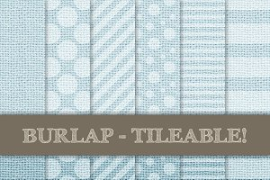 Burlap Digital Papers - Soft Blue