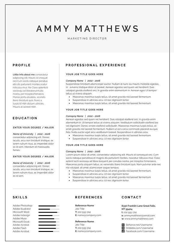 Word Resume Cover Letter Template Templates Creative Market