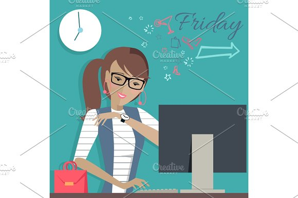 Friday Working Day. Woman Dreaming About Weekends.