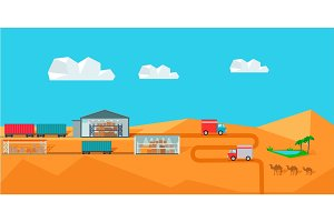 Warehouse on Desert Landscape