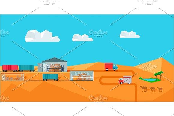 Warehouse On Desert Landscape