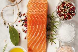 salmon fillet with ingredients