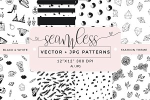 Seamless vector patterns - pack of 8
