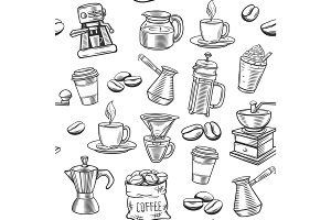 Hand drawn coffee seamless pattern.