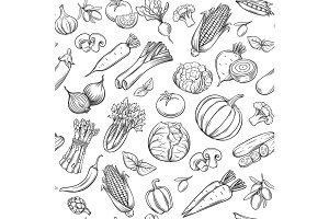 Hand drawn vegetables seamless pattern.