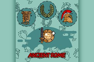 Ancient rome flat concept icons