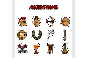 Ancient rome cartoon icons set