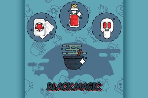 Black magic flat concept icons