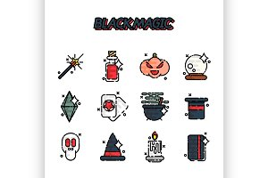 Black magic cartoon concept icons
