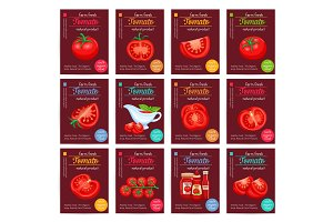 Tomato product sauce ketchup poster set.