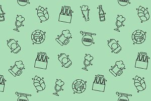 Brewing icons set pattern