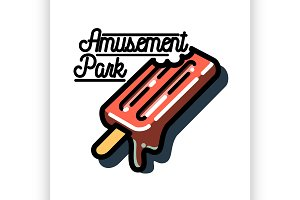 Color vintage Amusement park emblem.