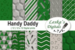Father's Day Digital Paper - Green