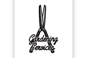 Color vintage gardening emblem