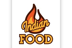Color vintage indian food emblem