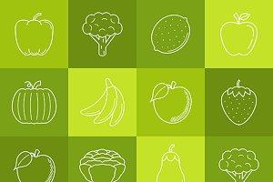 Fruits & vegetables minimal iconset