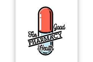 Color vintage pharmacy emblem