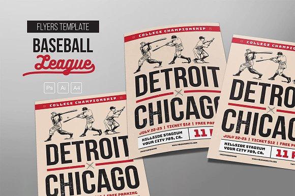 vintage baseball flyers flyer templates creative market