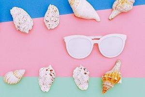 Set seashells and sunglasses