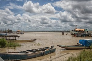 Colorful wooden boats in Paramaribo